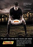 Ireland rugby star Conor Murray in commercial image for Powerbar advertising campaign