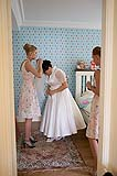 Bride and bridesmaids getting ready for wedding at the Mustard Seed, Ballingarry, Co. Limerick