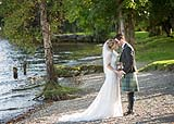 Newly married couple on the grounds of AnnaCarriga Estate, Killaloe, Co. Clare, Ireland.
