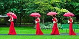Colourful fun image of bridesmaids in the park at Adare, Co. Limerick, by Cormac Byrne Photography.