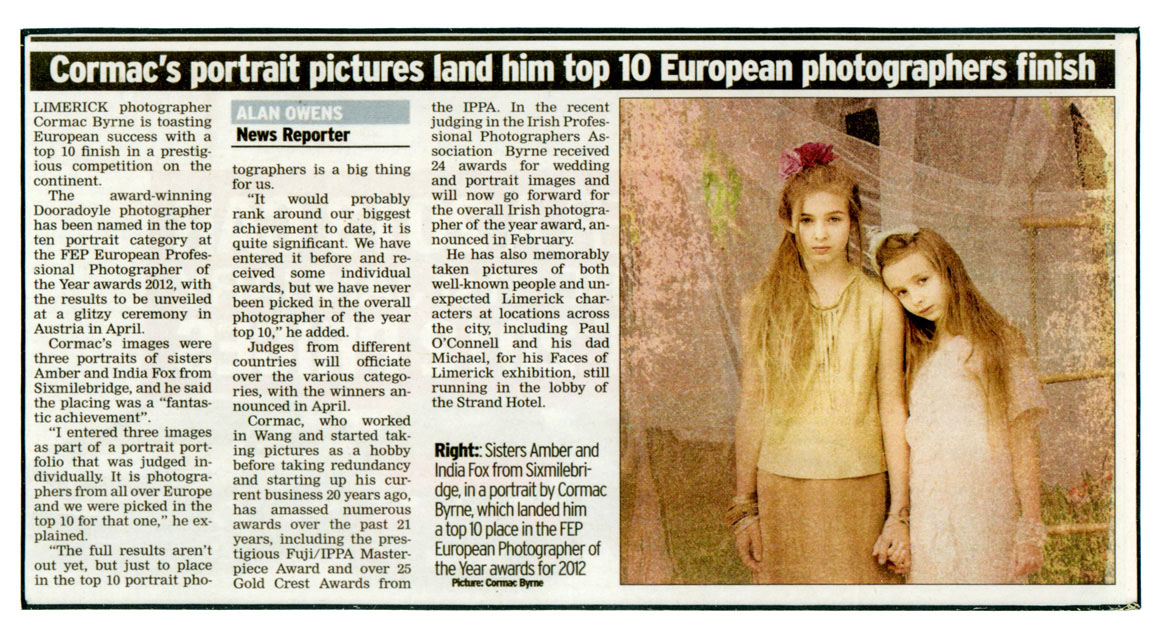 Cormac Byrne, Limerick photographer, wins top ten place in European ''Photographer of the Year'' Awards