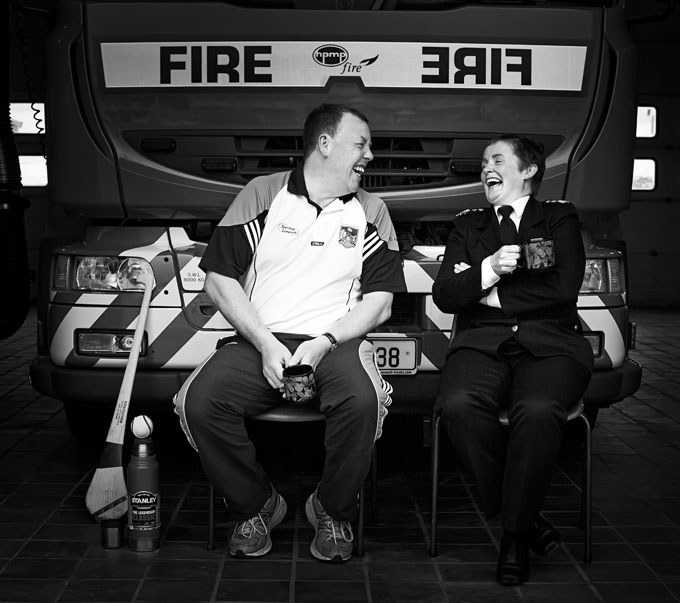 Limerick hurling legend Gary Kirby with his wife and fire chief Carmel Kirby enjoying a cuppa at the fire station.