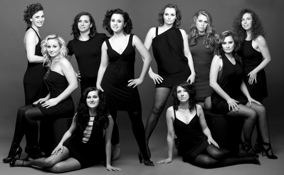 Girls' volleyball team black and white contemporary fashion style look at Cormac Byrne photography
