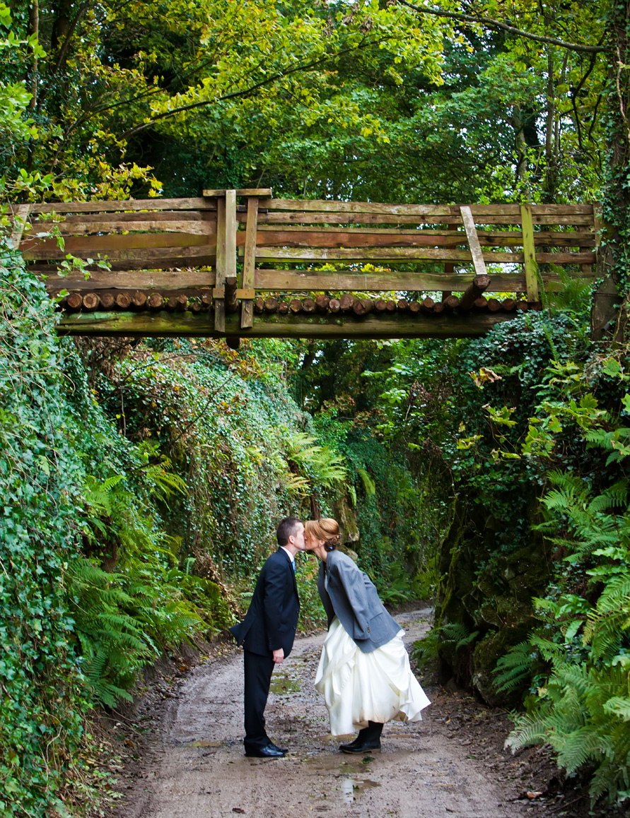 The couple pose for a photograph under the bridge at Springfield Hall, Broadford, Co.Limerick