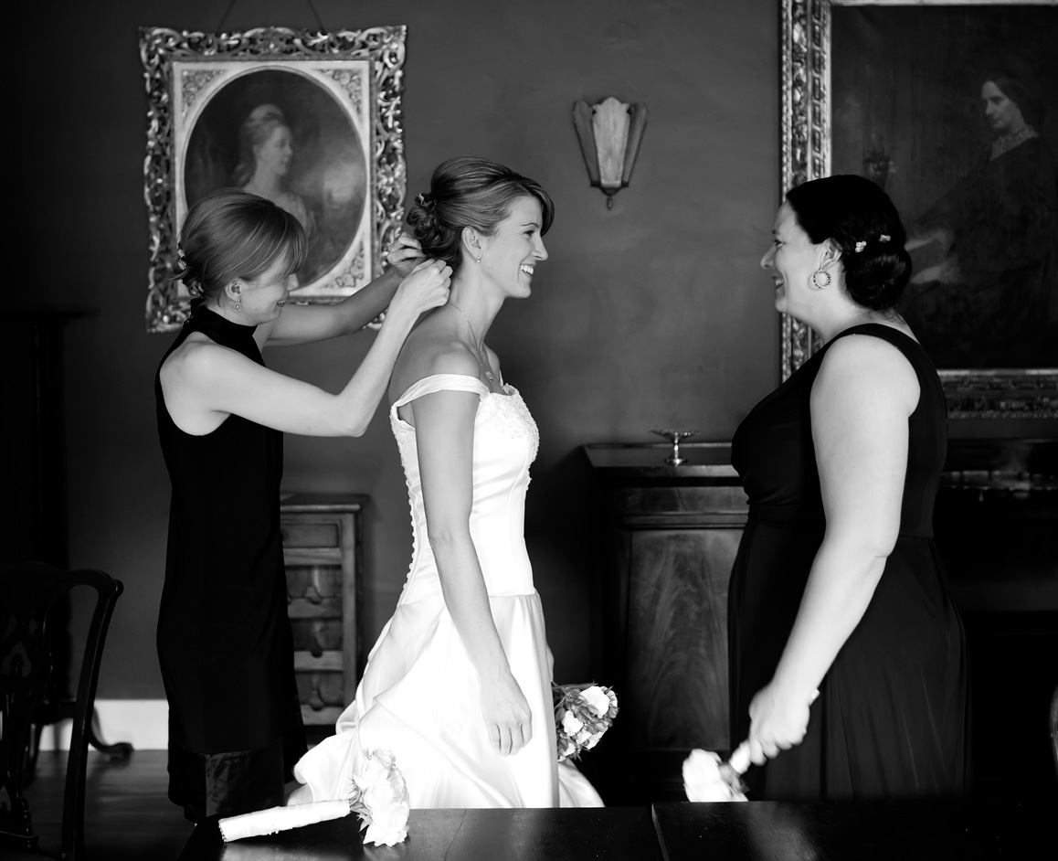 The bride is helped by her bridesmaids on her big day at Springfield Hall, Broadford, Co. Limerick