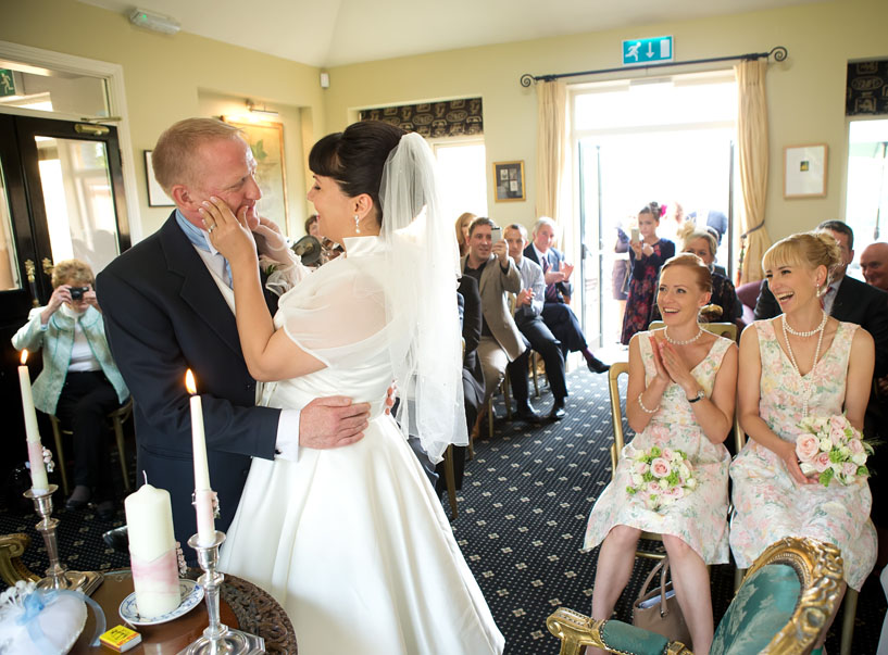 Bride and groom share a fun moment at their wedding in the Mustard Seed Ballingarry, Co. Limerick, Ireland