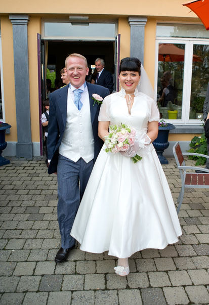 Happy couple on their wedding day at the Mustard Seed Restaurant, Ballingarry, Co. Limerick.