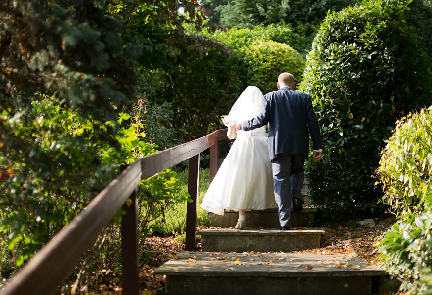 Wedding couple going for a walk on the grounds of the Mustard Seed Restaurant, Ballingarry, Co. Limerick
