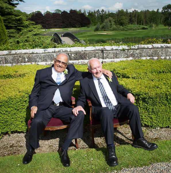 A portrait of the two dads, at a wedding at Adare Manor, Adare, Co. Limerick, Ireland