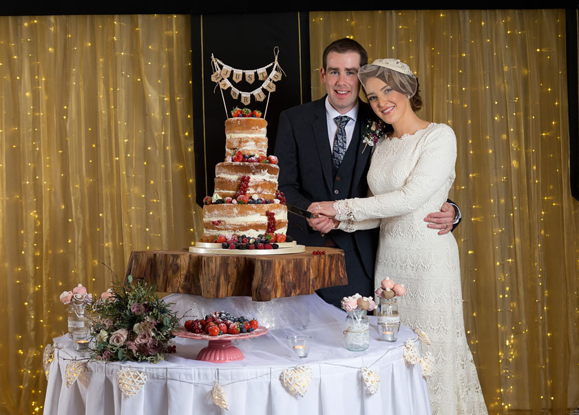 A wedding couple at their wedding reception at Ballygarry House, Tralee, Co. Kerry.