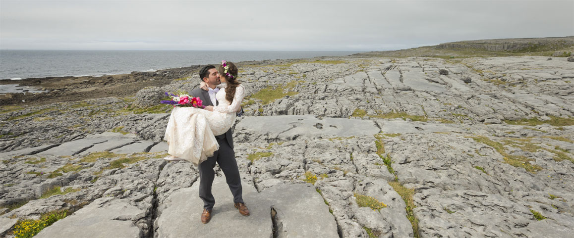 Newly married couple in the Burren Co. Clare on the west coast of Ireland.