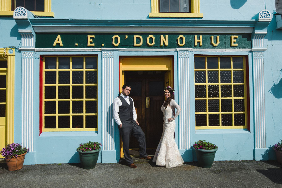 Wedding couple at O'Donohue's pub Co. Clare on the west coast or Ireland