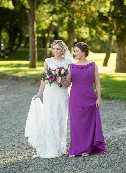 Bride with her bridesmaid on the grounds of AnnaCarriga Estate, Killaloe, Co. Clare, Ireland.