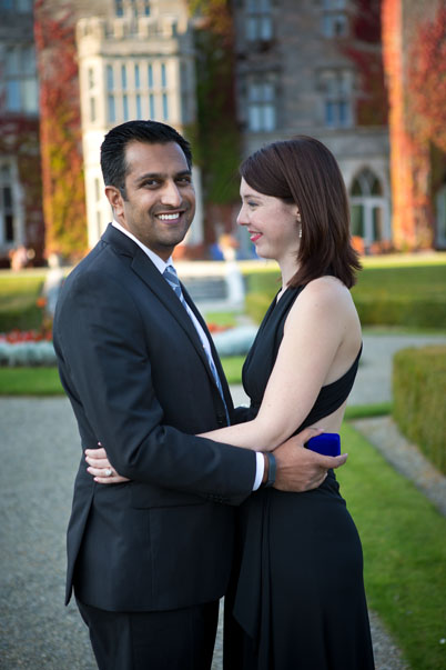Julia is delighted with fiancé Jiss, asking her to marry him, at Adare Manor, Adare, Co. Limerick