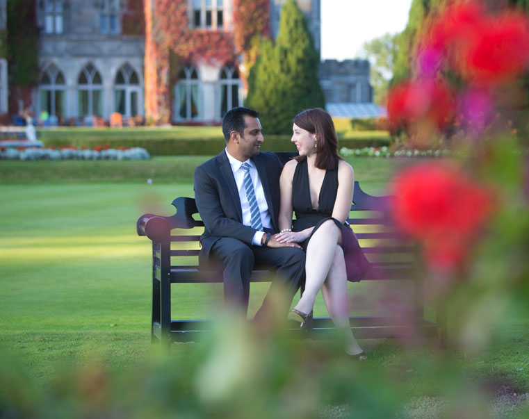 Very happy couple on the grounds of Adare Manor after secret wedding proposal goes so well.